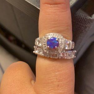 Ring bomb party size 9 deep purple fire opal